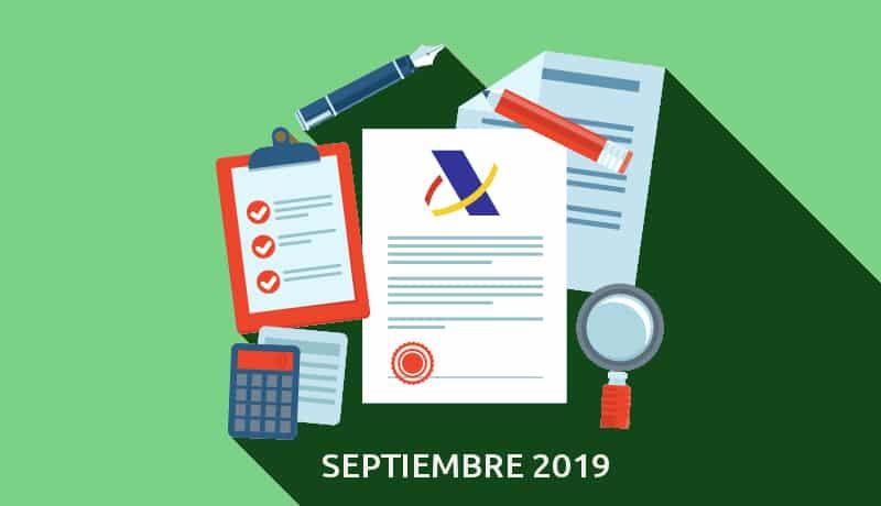 Aquí tienes tu Calendario del Contribuyente de septiembre de 2019